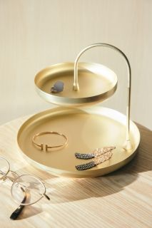 UMBRA POISE TWO TIERED TRAY BRASS